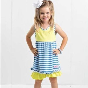 Ruffle Girl Matching Sets - Ruffle Girl Blue/White & Yellow Ruffle Short Set